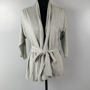 ana 3/4 sleeve gray cardigan with tie, size small